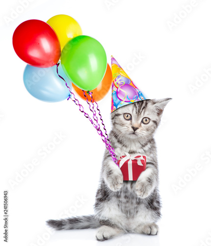 Cat In Birthday Hat Holding Balloons And Gift Box Isolated On White Background