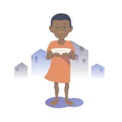 Starving Black child. Flat vector illustration.