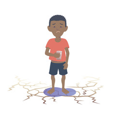 Black child suffering from lack of water. Flat vector illustration.