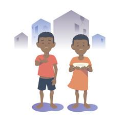 Begging Black boy and girl. Flat vector illustration.