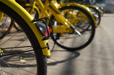 Yellow bicycle parking outdoor