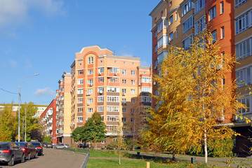 New buildings in Moscow at a autumn day