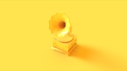 Yellow Vintage Gramophone 3d illustration 3d render Wall mural