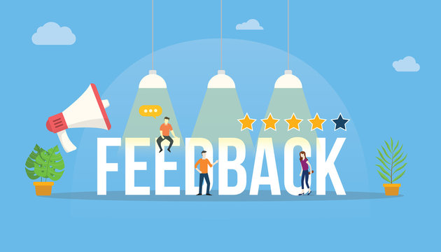 feedback big word customer rating with people team office and rate star