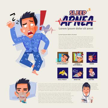 sleep apnea infographic and how to treatment. insomnia discorder. sleep problem concept - vector
