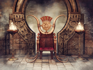 Fairytale throne and burners. 3D render.
