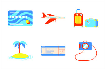 Holiday vacation beach elements flat style design set. Island, airplane, luggage, palm, credit card, tickets, camera signs icons - symbols of season exotic vacations isolated on white background.