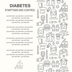 Diabetes vector linear background with place for text. Diabetic therapy line style icons set. Blood glucose test. World diabetes day pattern.