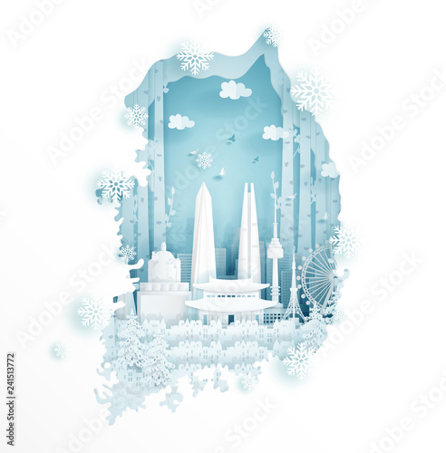 Fototapete Winter in South Korea for travel and tour advertising concept with world famous landmark in paper cut style vector illustration.