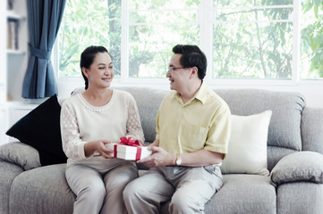 Happy senior couple exchanging gift box while relaxing at home.