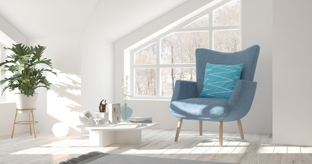 White room with armchair and winter landscape in window. Scandinavian interior design. 3D illustration