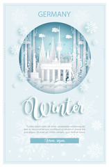 Fototapete - Winter in Germany for travel and tour advertising concept with world famous landmark in paper cut style vector illustration.