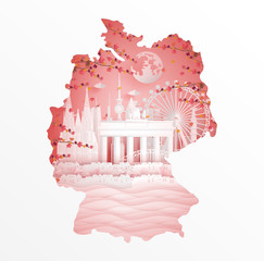 Fototapete - Autumn in Germany with maple leave style in season concept for travel postcard, poster, tour advertising of world famous landmarks in paper cut style. Vector