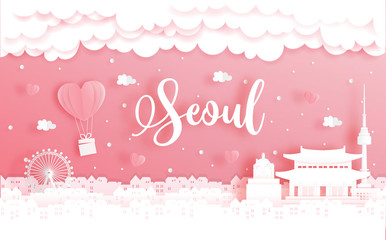 Fototapete - Honeymoon trip and Valentine's day concept with travel to Seoul, South Korea and world famous landmark in paper cut style vector illustration.