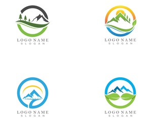 Nature mountain logo design template