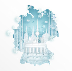 Fototapete - Winter in Germany with map concept for travel and tour advertising concept with world famous landmark in paper cut style vector illustration.