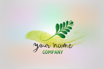 Watercolor floral leaf design logo