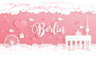 Fototapete - Honeymoon trip and Valentine's day concept with travel to Berlin, Germany and world famous landmark in paper cut style vector illustration.