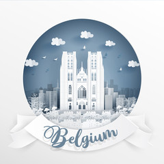 Fototapete - St. Michael and Gudula Cathedral, Brussels, World famous landmark of Belgium with white frame and label. Travel postcard and poster, brochure, advertising Vector illustration.