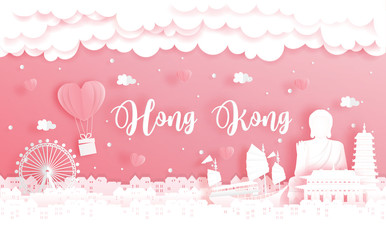 Fototapete - Honeymoon trip and Valentine's day concept with travel to Hong Kong, China and world famous landmark in paper cut style vector illustration.