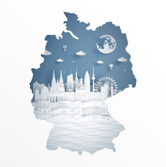 Fototapete - Germany map concept with famous landmark for travel postcard and poster, brochure, advertising in paper cut style vector illustration.