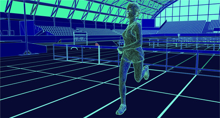 professional athlete running after jumping hurdle in indoor stadium