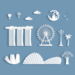 Fototapete - Collection of Singapore famous landmarks in paper cut style vector illustration.