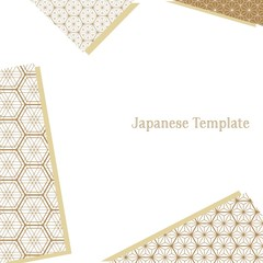 Japanese pattern template vector. Gold line background.