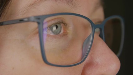 7e8bc2618f 0 09 Face of adult woman in eyeglasses close up. Female eyes in glasses  looking away isolated