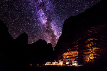 Wadi Rum desert landscape at night, Jordan