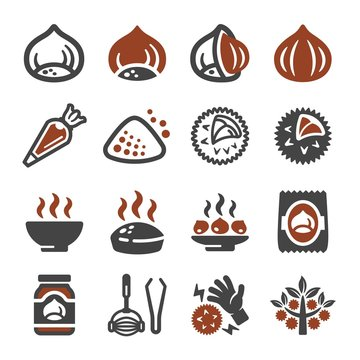 chestnut icon set,vector and illustration