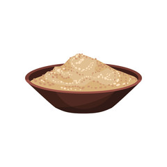 Ground white pepper in brown ceramic bowl. Spicy condiment for food. Natural product. Flat vector design