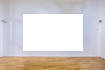 Mock up blank poster on the wall in gallery interior