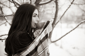 Latina sad woman with philosophical mood thinking about something outdoor, winter morning
