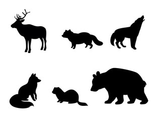Silhouettes of animals of tundra