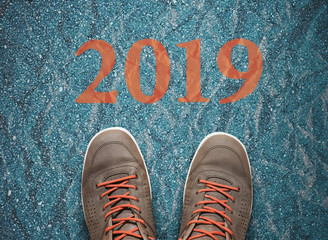 road to new 2019 year, goals and resolutions consept