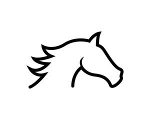 Horse head line vector illustration