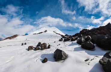 Snow and rocks glacier on Elbrus mountain top