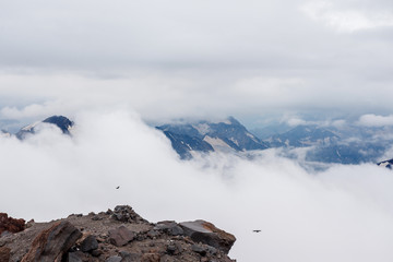 Low clouds in the mountains landscape