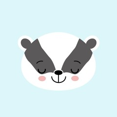 Sleeping Badger cute black and white cartoon animal, ector icon