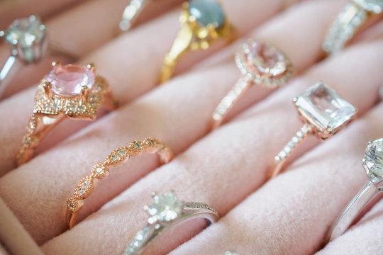 Gold jewelry diamond rings in box