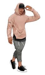 Poster Chambre d enfant Fashion boy posing walking and touching his visor