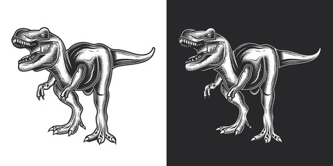 Vector illustration of a dinosaur. Monochrome illustration on white and dark background.