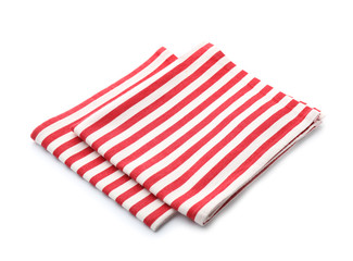 Clean kitchen towels on white background