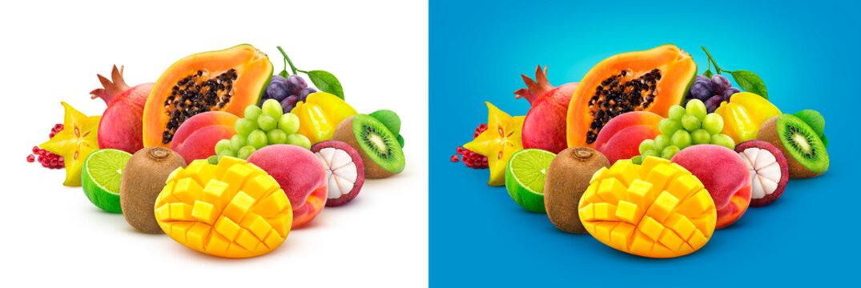 Tropical fruits. Heap of fresh exotic fruits isolated on white background, papaya, mango, pomegranate, carambola, mangosteen, kiwi, peach, grap
