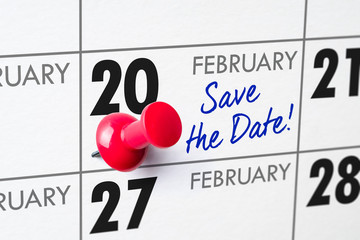 Wall calendar with a red pin - February 20