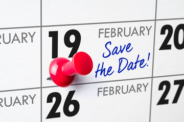 Wall calendar with a red pin - February 19