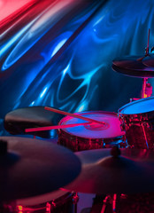 music drum set on abstract background