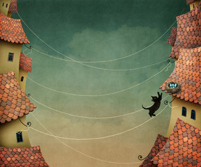 Background with  kitten walking on the roofs of houses