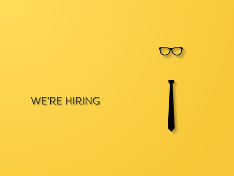 Hiring and recruitment poster or banner vector concept in mimimalist style with tie and glassses. Symbol of vacancies, job offers, career development, job advertisement.
